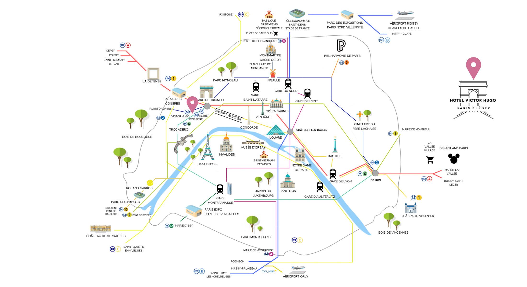 Cartina Politica Di Parigi.Hotel Victor Hugo Paris Kleber Hotel Raffinato Tour Eiffel Parigi Mappa